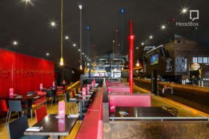 bowling alley with booths and tables and private bar
