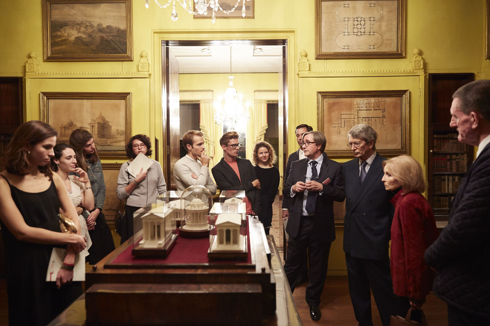 Sir John Soane's Museum with people inside standing and talking