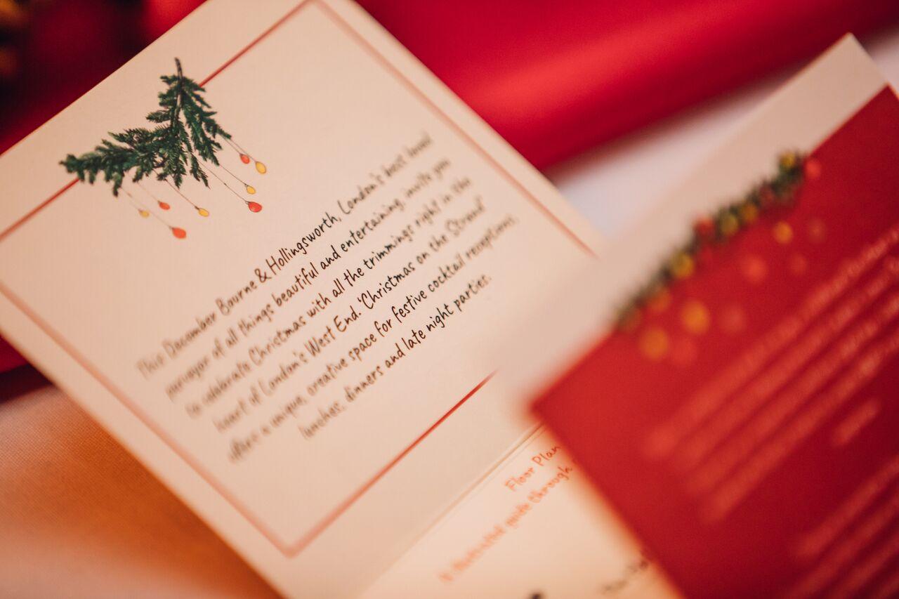 Bourne & Hollingsworth's Christmas pop up invitation menu