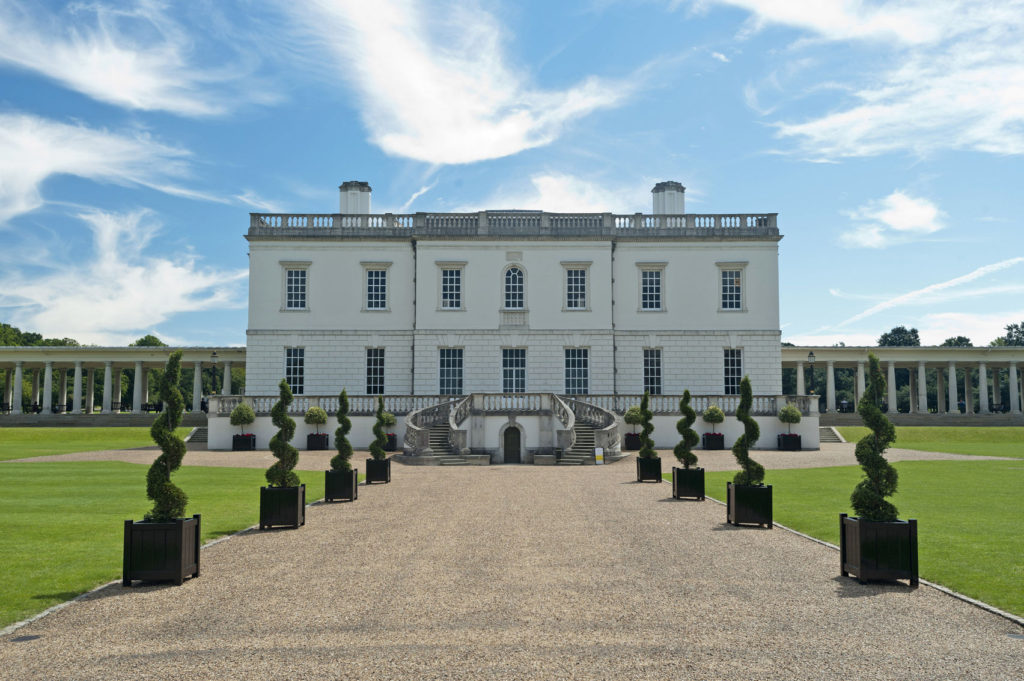 Queen's House with topiary swirl trees, Royal Museums Greenwich