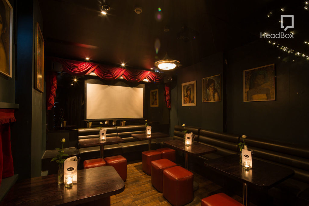 An intimate venue hire in Bristol. Cafe Tabac is a tiny private screening room which has a projector on the back wall and red and dark brown leather seats. A great option for cheap venue hire Bristol.