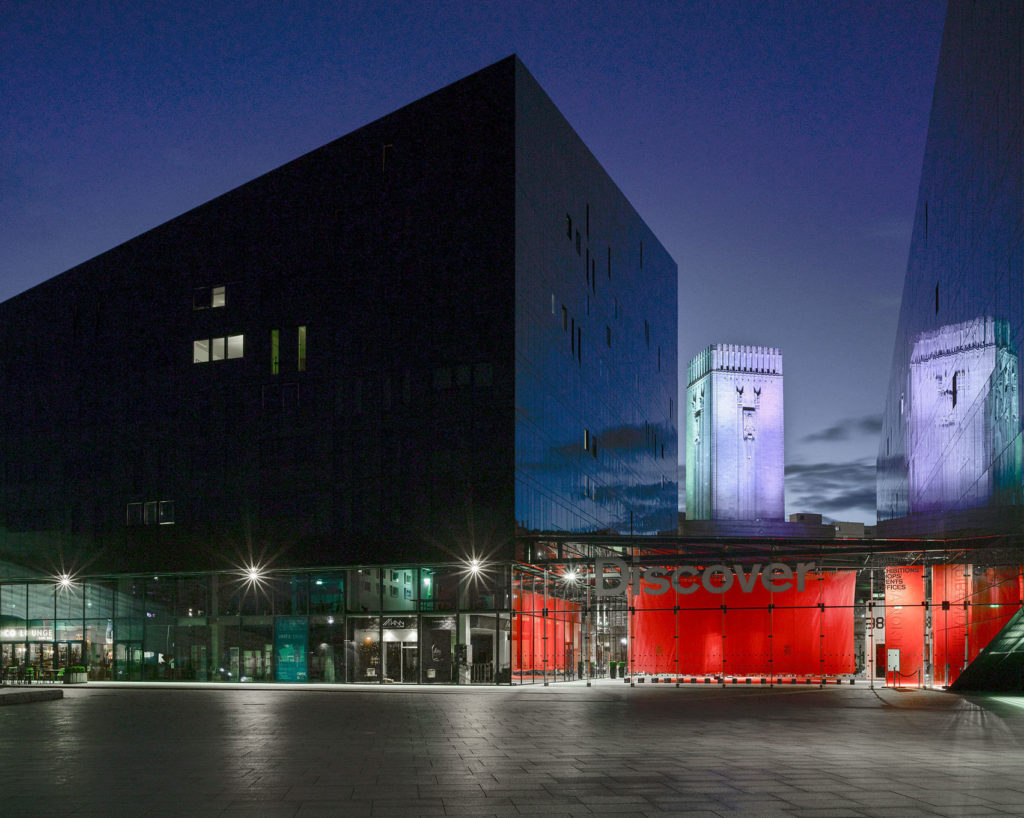 A large black building on the waterfront of Liverpool