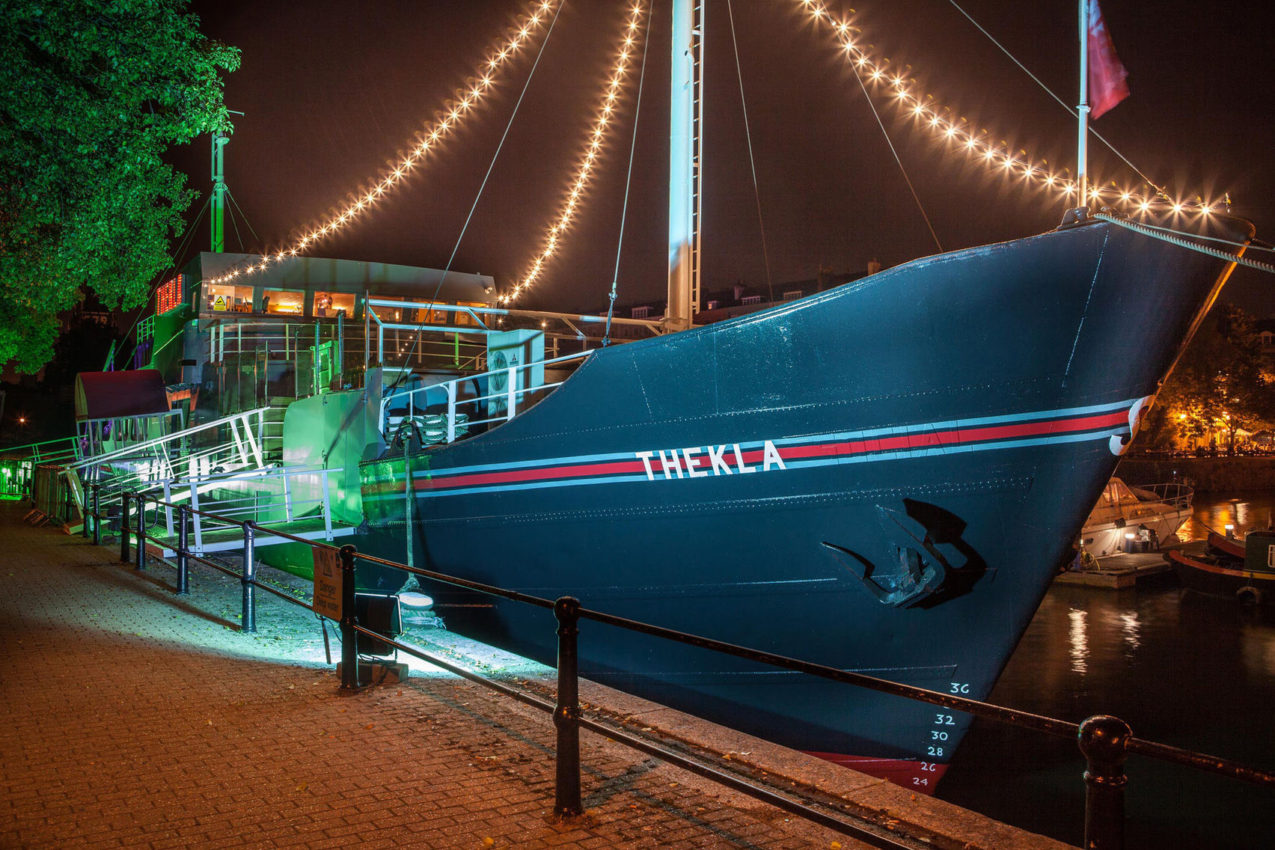 A boat sat on water in Bristol. A great cheap venue hire in Bristol